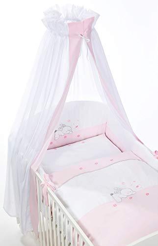 Easy Baby 800-38 Kit complet de lit avec broderies, Tour de lit et ciel, motif Rabbit, 100/135 + 40/60, rose