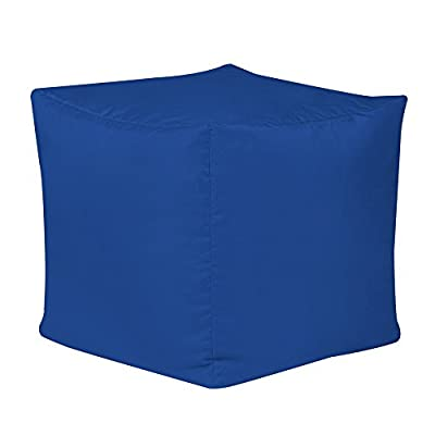 Bean Bag Bazaar 38cm x 38cm, Cube Bean Bag Stool - Indoor and Outdoor Use - Water Resistant, Weather Proof Bean Bags (2, Blue)