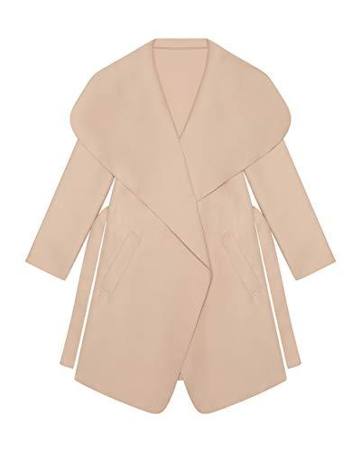 Kendindza Damen Mantel | Midi Trenchcoat mit Gürtel | OneSize (Beige, OneSize | Einheitsgröße)