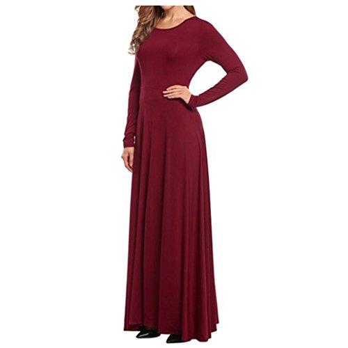 Bekleidung Longra Damen lange Ärmel Elegante Abendkleider Party Ball Prom Kleid Brautjungfer formale Cocktailkleider Wine