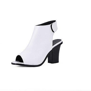 LvYuan Da donna-Sandali-Matrimonio Ufficio e lavoro Serata e festa-Cinturino alla caviglia Comoda-Quadrato-PU (Poliuretano)-Nero Bianco Grigio Black