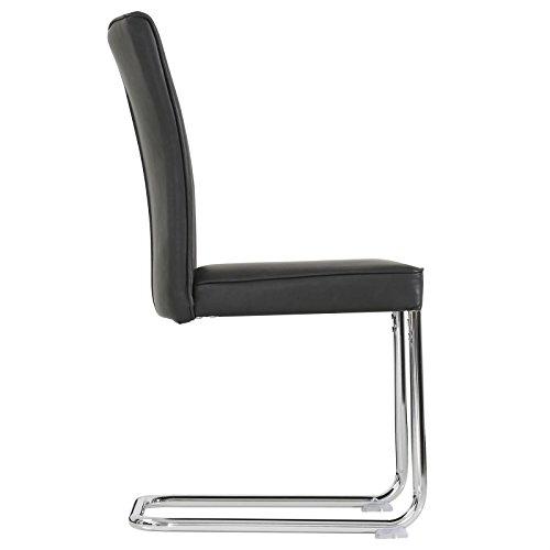 CARO-Möbel 4er Set Esszimmerstuhl Küchenstuhl Schwingstuhl Beverly, aus Wildlederimitat in schwarz, Metallgestelll in Chrom, im Vintage Stil - 2