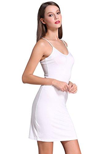 Coreal Damen Unterkleid Slim Nachthemd Verstellbare Träger nachtwäsche Weiß X-Large