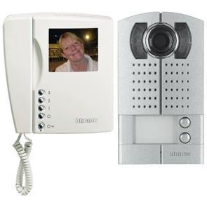 Video door intercom, two-family house, aluminum, BTICINO LINEA 2000