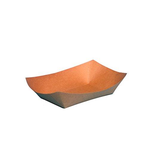 Pro DP 500-1000 Bio Snackschalen Fingerfood Schalen Snack Schiffchen braun Hartpapier/Pappe mit Biowachs Beschichtung verschiedene Größen und Abpackungen (800ml (500St)) -