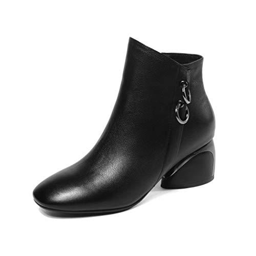 Plus Size Breite Stiefeletten für Damen Mid Chunky Block Stacked Heels Runde Zehe Slip on Side Zip Schwarz, Khaki, gelb (Farbe : Schwarz, Größe : 35) -