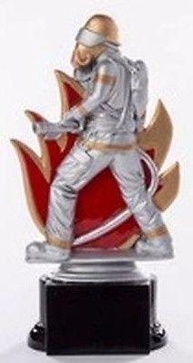 Feuerwehr-Pokal mit Wunschgravur und 3 Feuerwehr-Anstecknadeln (Sticker)