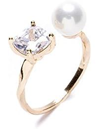 Happiness Boutique Damas Anillo de Perla en Blanco | Anillo Cruzado con Diamantes de Imitación Anillo Apilable Abierto en Oro Libre de Níquel