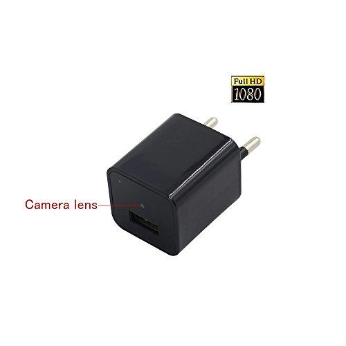 Mini Übwerwachungskamera Built-in 8GB Speicherkarte , Xingan HD1080P Spion Adapter Kamera versteckte USB-Wand-Ladegerät Kamera, Nanny Surveillance versteckte Spion Kamera für Haussicherheit-Schwarz (Wechselstrom-wand-ladegerät-adapter)