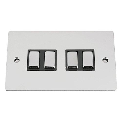 A5swi4gcfbc 10A Lichtschalter 4-fach 2-Wege-Quad Leuchte Chrom poliert flach Schalter mit Metall Rocker schwarz Einsatz (4 Way Light Switch)