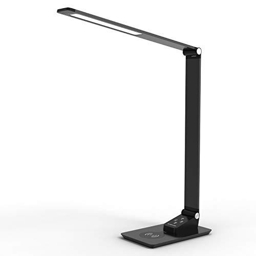 Lámpara LED de escritorio de Carga Inalámbrica de YOUKOYI Lámpara de Metal con Estilo,Luz de Oficina RegulablPuerto de Carga USB para Oficina Habitación o Dormitorio 12W Negro