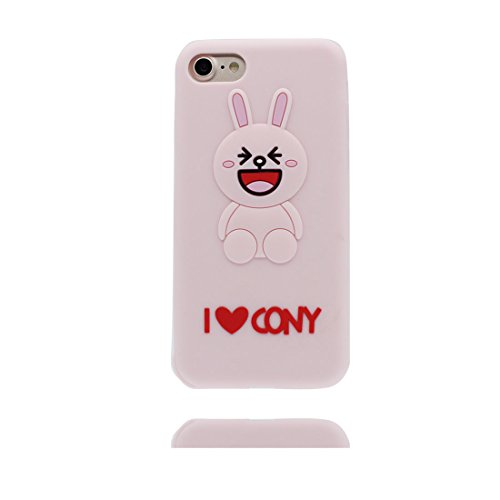 "iPhone 7 Plus Handyhülle, Cover iPhone 7 Plus Hülle Cartoon 3D Hase Ohren Shell TPU flexibles Shell iPhone 7 Plus case (5.5"") Staub Kratzer beständig & Ring Ständer Rabbit Ear Pink 1"