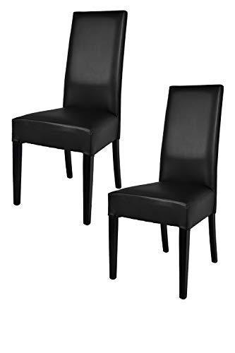 Tommychairs - 2er Set Moderne Stühle Luisa für Küche und Esszimmer, Struktur aus lackiertem Buchenholz Farbe Schwarz, Gepolstert und mit Schwarzem Kunstleder bezogen -