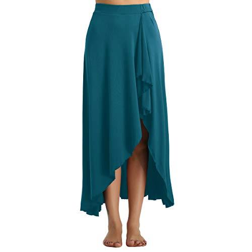 Iixpin gonna danza classica donna gonna flamenco danza del ventre swing lungo elastico in vita vestiti da ballo standard abito danza moderna contemporanea verde large