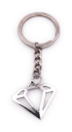 H-Customs Diamant Kristall Version 2 Schlüsselanhänger Anhänger Silber aus Metall (Diamant-ring Schlüsselanhänger)