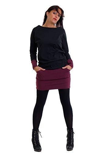 DREI Elfen Pullover Kleid Damen Langarm Winterkleid Mini Rock Kleider kurz Casual leger - schwarz Bordeaux S Minikleid