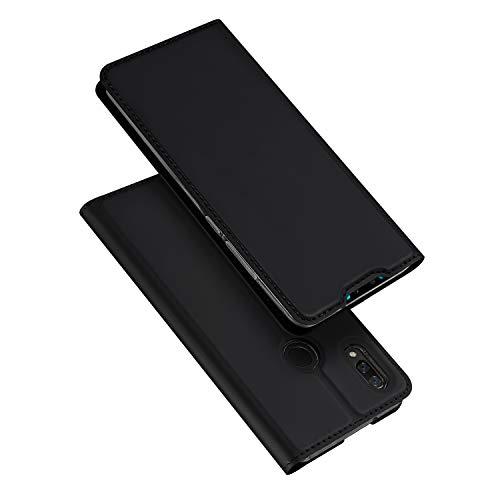 DUX DUCIS Hülle für Huawei P Smart 2019, Leder Flip Handyhülle Schutzhülle Tasche Case mit [Kartenfach] [Standfunktion] [Magnetverschluss] für Huawei P Smart 2019 (Schwarz)