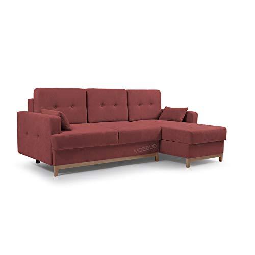 MOEBLO Ecksofa mit Schlaffunktion Eckcouch mit 2 X Bettkasten Sofa Couch L-Form Polsterecke Sophie (Rot, Ecksofa Rechts)