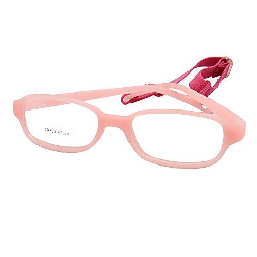 EnzoDate die Kinder der Gläser optischen Frame mit Kordelband, nicht-Kuss Biegsame Stück Größe 47/16 Pink