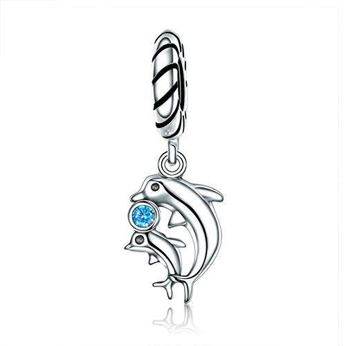 Charm-Anhänger Delfin, 925er Sterlingsilber, Tier-Charm für Pandora-Charm-Armbänder