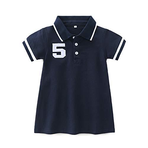 YWLINK MäDchen Kinder T-Shirt Kleiden Gestreift Kurze ÄRmel Freizeit Sport Polo Kragen Kurze Ärmel Sommer Tunika Dresse ()