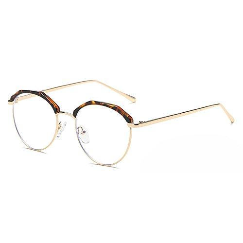 Brille Rund Retro mit Fensterglas - Damen Herren Brillenfassung Metall Frame Transparente Linsen Brille für Lesen/Arbeiten/Unterhaltung (Herren-mode-runde Brille)