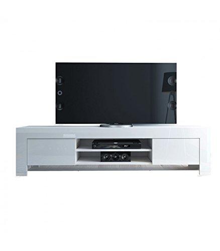 InHouse srls Meuble pour TV Moderne en Bois, Blanc laqué, 183x47 45H