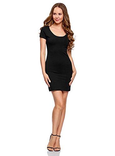 oodji Ultra Damen Enges Jersey-Kleid, Schwarz, DE 40 / EU 42 / L (Weiches Jersey-kleid)