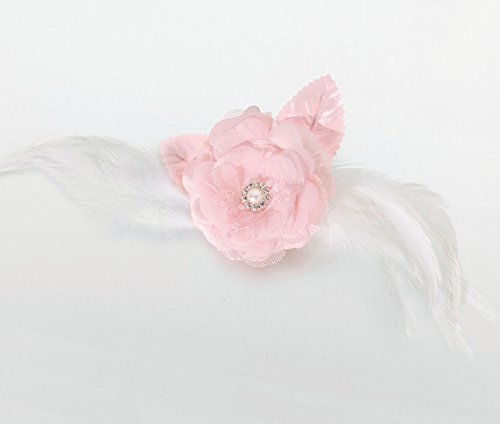 Lillian Rose Lace and Feather Hair Clip/Pin, 9-Inch, Pink-P, Textil, Rose, 36 Degree Beam Angle