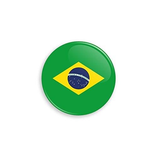Button mit Brasilien Flagge als Anstecker mit Nadel oder Magnet als Auswahl, 38 mm Durchmesser - Für Fußball WM, Themen Partys und Feiern oder als Geschenk - Nadel -