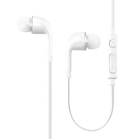 Écouteurs Intra-auriculaires Basse Stéréo avec Micro pour Apple iPhone, Android Smartphones, Tablettes (Blanc) …