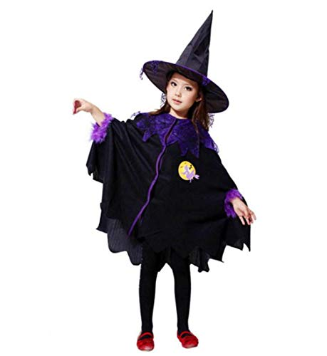 (Babykleider,Sannysis Kinder Baby Mädchen Halloween Kleidung Kostüm Kleid + Haar Hoop + Fledermaus Flügel Outfit 2-15Jahre (130, Schwarz))