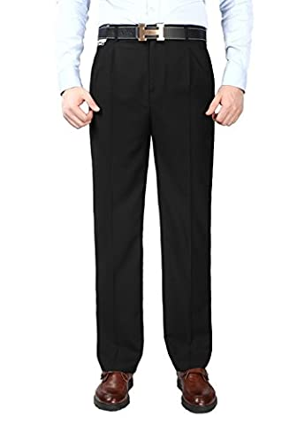 Mens Black Business Trousers Anti-Wrinkle Double Front Pleated (38)