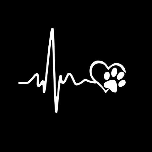 Carry stone Premium-Qualität Auto Aufkleber, EKG Herz Hund Fußabdruck Fahrzeug Karosserie Fenster reflektierende Auto Styling Aufkleber Decals (Auto-fenster-aufkleber Hunde)