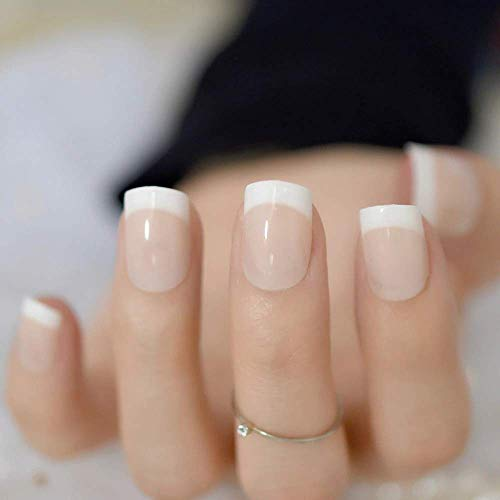FASHION ZONE French Nails Nail Art Pre-design Acrylic Fake Nail Classical Full Cover Short White Manicure (12 Pcs.)