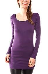 Easy Young Fashion Damen Langarm T-Basic Shirt Lang Longshirt Langarmshirt Unterziehshirt Minikleid Unterkleid Rundhals Uni Violett S/M