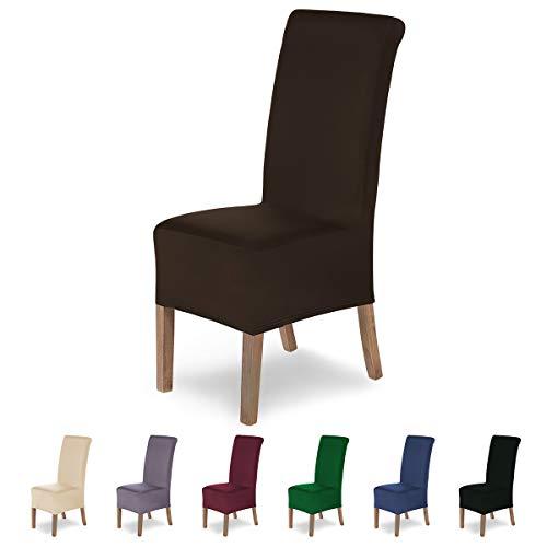 SCHEFFLER-Home Lena 2 Fundas de sillas, Estirable Cubiertas, Moderna extraíble flexibel Funda con Banda elástica, Marrón