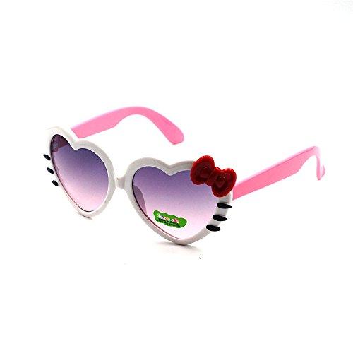 XINMADE Herz verschiedene Kinder UV400 Sonnenbrillen für Jungen und Mädchen Alter 3-10 (weiß-rosa)