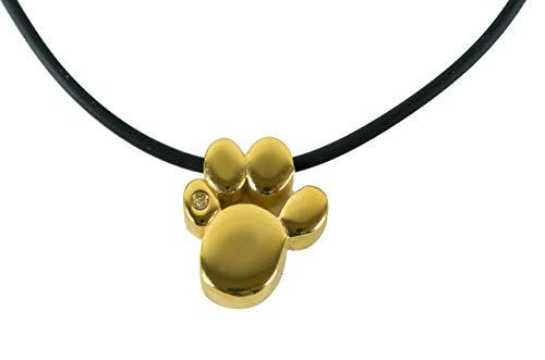 Pfote Hund Katze Tatze Magnet Kettenanhänger 24k vergoldet mit Swarovski® Kristall Energetix 4you 714 gold incl. Gratis Kette