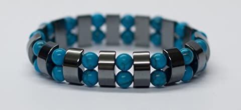 Edelstein-Armband, Hämatit mit Magnesit, türkis gefärbt