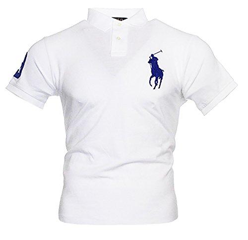 Ralph Lauren Herren Kurzarm Polo Shirt Big Pony (Weiß, M)