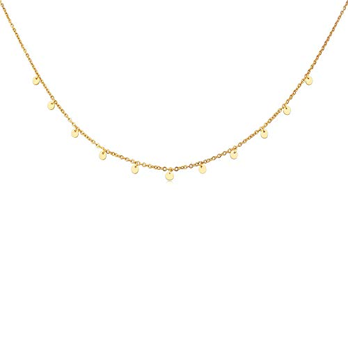 GD GOOD.designs EST. 2015 ® Damen 5 Coinkette - Edelstahl Halskette mit fünf runde Plättchen (Kette 40 +5 cm) (11 Coins - Gold) - Edelstahl Kette Vergoldete