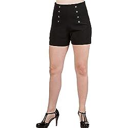 Banned Dancing Days by Mujer Rockabilly Pin Up Shorts Alta Cintura–Stay awhile Pantalón Corto Negro Negro Large