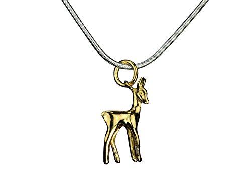 Plata musgo Mujer Niños colgante con cadena ciervo cervatillo Dorado Brillante con cadena de serpiente 45cm plata de ley 925