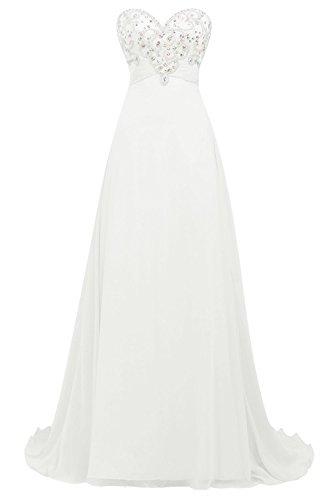 Bbonlinedress Robe de cérémonie Robe de soirée emperlée forme empire bustier en cœur longueur ras du sol Ivoire