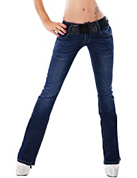 fefee6a7a61 RED SEVENTY Quality Women's stretchy blue Hipster Boot-cut jeans + Belt. Sizes  UK