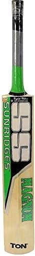 Ss Sunridges Magnum English Willow Cricket Bat, Number 6, Black/Green [10010064]