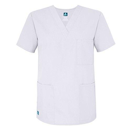Adar Universal Unisex V-Neck Tunic Top 3 Pockets - 601 - White - M