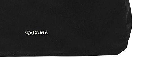Überschlagtasche von Waipuna aus hochwertigem Nylon mit Schlüsselanhänger Black / Schwarz