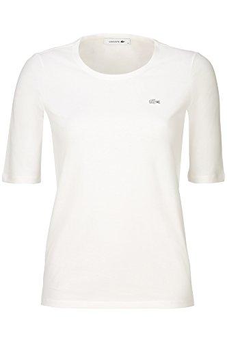Lacoste TF5621 Klassisches Damen Basic T-Shirt, Rundhals, 3/4 Arm, Kurzarm, Regular Fit, für Freizeit und Sport, 100% Baumwolle Weiß (White 001), EU 34